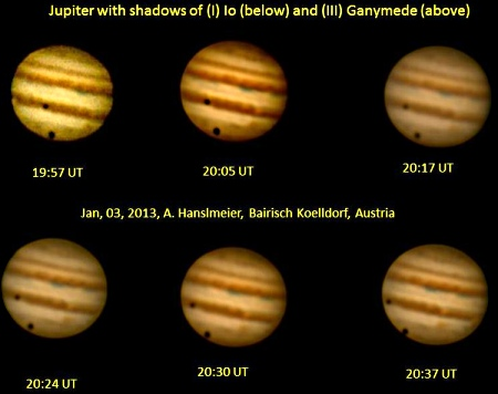 Shadows cast on Jupiter