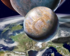 New planets depicted hovering over Earth
