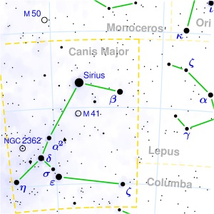 Star chart of Canis Major
